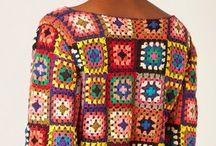 Blusa de crochê quadriculada