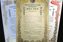 Custom Chinese Certificates / Custom Japanese Martial Arts Certificates. Layout Design & Print by Asian Martial Arts Design. Text translated with native Chinese translators. Provide us your school's logo & certificate text. We will translate, design and print for you. See info at: http://www.asianmartialartsdesign.com/goldcertificates.htm