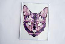 Glass Art Vector cat / handmade handpainted glass pictures