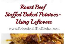 Roast beef stuffed potatoes