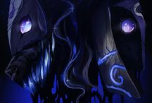 """League of Legends - Kindred / Nerver one. Without the other.  """"Lamb, tell me a story."""" """"There was once a pale man with dark hair who was very lonely."""" """"Why was it lonely?"""" """"All things must meet this man, so, they shunned him."""" """"Did he chase them all?"""" """"He took an axe, and split himself in two. Right. Down. The middle."""" """"So he would always have a friend?"""" """"So he would always have a friend."""""""