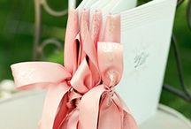 Peach and silver decoration