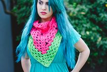 Crochet scarves, shawls,  and beanies