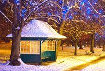 Snowy Night in Harrogate / West Park Harrogate in the snow
