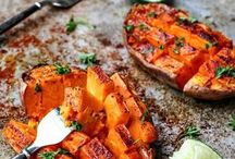 honey roasted sweet potato in line and cayenne