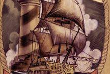 Diseños marinos faros sirenas anclas y demas