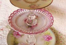 Vintage Crockery / Rose Cake Stand
