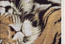 Haft krzyżykowy - Koty