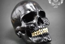 Detail Realistic Hand Carved Human Skull Arang Wood / Find This Skull on Etsy