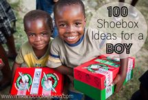 Shoebox Ideas for Boys 2-4 / Ideas on things to pack in shoe boxes for boys ages 2-4.