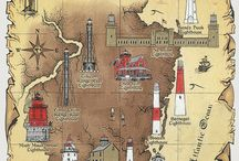 Lighthouses, location and postage stamps