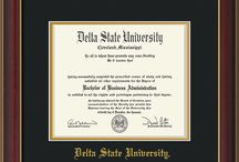 Delta State University / Each of these Official Delta State University diploma frames are custom made to exacting specifications to fit the DSU diploma. All are made of 100% archival materials including UV glass to protect from fading due to sunlight, as well as indoor incandescent and fluorescent light. These stunning, museum-quality displays come with everything you need to install the degree yourself, including easy instructions and acid-free tape. The perfect graduation gift for yourself, or a loved one.
