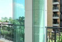 porta de vidro sanfonada