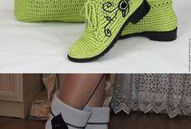 Háčkované topánky,papuče a ponożky
