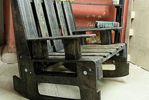 chaise bercante antique palette
