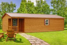 Log Cabin Sheds / Portable storage buildings with log cabin siding for a log cabin look.