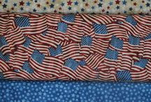 Americana Fabrics / God bless America!  These fabrics are great for the 4th of July, welcoming home a hero, or just showing your American pride.  (Northcott Stars and Stripes & others)