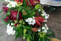 Pink/ red funeral arrangements