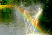 Springbrunne mit Licht