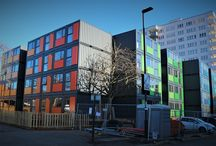 Cityzen Container Build London / We worked with QED to develop this container solution, to create emergency accommodation for homeless people in the Borough of Ealing. Taking just 10 months from concepts to tenants moving in, provide homes for up to 280 people who would otherwise be in B&Bs. The whole design is for a temporary use; it has a 7-year site use, at which point the units will be taken to another site. We designed the internal layouts, thermal build up, and detailing of the different unit types ready for manufacture.