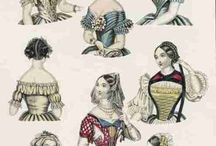 Ladies' Hair - Early Victorian / 1840's and 1850's - characterized by severe center parts, clumps of ringlets and symmetry.