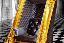 Chair sits somewhere between furniture and art.. / Chair sits somewhere between furniture and art, Plush seat is extravagantly upholstered in velvet and surrounded by an elaborate frame that's fitting of any masterpiece