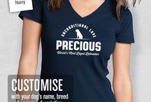 Gifts for Dog Lovers / Shirts and mugs designed by Aline Graphics for lovers of all kinds of dogs. All styles can be printed on any Mens' and Womens' shirts in store.