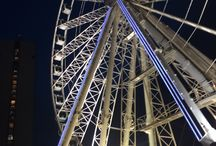 Manchester eye / Piccadilly gardens biggest attraction lit up at night