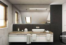 Projekt łazienki na poddaszu / Nasz kolejny projekt to pomysł na urządzenie łazienki na poddaszu. Ciepłe kolory drewna, które zostało mocno zaakcentowane w projekcie wzbogacono barwami czerni i bieli, tworząc idealnie uzupełniającą się całość.  Po więcej inspiracji zapraszamy na Naszą stronę internetową:biuro@monostudio.pl oraz na Facebooka