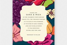 """Vintage Floral Wedding Inspiration Board / A wedding inspiration board based on the """"Vintage Floral"""" invitation suite from Up Up Creative. Features bright colors, modern lines, and rustic touches."""