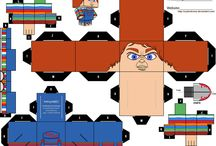 movie characters papercraft cube figures / printable D.I.Y craft paper cube figures
