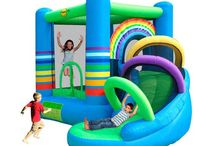 Castillo Hinchable Happy hop Mini Arco Iris con tobogán / Este y mas hinchables infantiles en saltofeliz.com