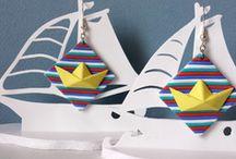Boucles d'oreilles pour un été marin / collection artisanale de bijoux pour un été tout en fraîcheur, sur un thème nautique et marin