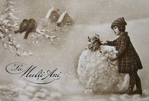 Winter vintage greeting cards / My collection started since my childhood is one of my favorite