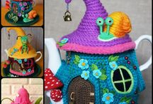 Crochet fairy doll, troll and house