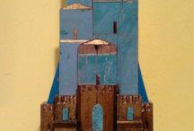 Paesini in legno tridimensionali-wooden houses, wood wall art by Alessandro Pantani - Pantani Arte