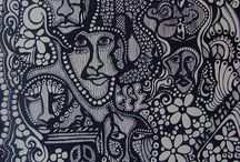 Black & white art / Zentangles, doodles, pen and ink, linocuts......I just love to look at black & white art