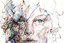 Portrait / Carne Griffiths, (title unknown), Tea and ink on paper.   .