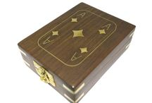 Timber-Treaures single deck card box / Each box is crafted from Indian rosewood and decorated with inlaid brass in the style of an Ace of Diamonds playing card. Each box also has brass hinges and locking clasp.  Please note that these boxes do not include playing cards. External dimensions - 11.5 x 9 x 4 cms* Internal dimensions - 9 x 6.5 x 2.5 cms* *handmade disclaimer
