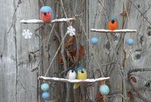 Felted folk birds ornament