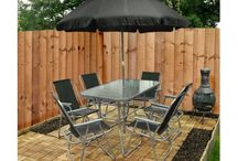 Outdoor Set Furniture Patio Garden 8 Piece Chairs Umbrella Glass Table Summer
