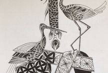 Black and white -paintings with Japan Ink-