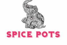Spice Pots / Delicious little pots of blended Indian Spices to make fantastically simple curries.  Korma, Bhuna, Goan or Tandoori Masala.  Recipes for the BBQ as well!