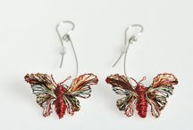 vmikro butterfly earrings / Butterfly earrings, made of colored copper wire and solid silver, and 14k solid gold, wire earrings studs, art jewelry, sculptural earrings, simple earrings, everyday jewelry, colorful jewelry, wire wrapped, wire art jewelry, mixed metals, elegant, cute pins, silver earrings, yellow gold, gift ideas for her, bridesmaid earrings, art to wear, art jewelry, nature jewelry, wire insect jewelry, modern art jewelry, contemporary jewelry, modern hippie, boho jewelry, long, dangle, art earrings, vmikro.