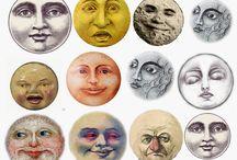 Planets, moon, sun