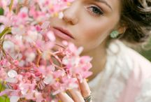 Woman and flowers photoshoot