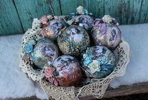 Ёлочные украшения / Винтажные шары на ёлку