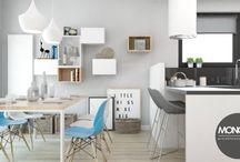 Jasne mieszkanie w bieli i szarości wzbogacone pastelowymi barwami / Jasne mieszkanie w bieli i szarości wzbogacone barwami pastelowymi zaaranżowane w nowoczesnym stylu.  Po więcej inspiracji zapraszamy na Naszą stronę internetową:biuro@monostudio.pl oraz na Facebooka