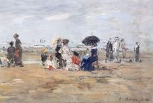 """EUGÈNE BOUDIN / EUGÈNE LOUIS BOUDIN (12 July 1824 – 8 August 1898) was one of the first French landscape painters to paint outdoors. Boudin was a marine painter, and expert in the rendering of all that goes upon the sea and along its shores. His pastels, summary and economic, garnered the splendid eulogy of Baudelaire; and Corot called him the """"king of the skies""""."""