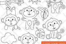 Art & Doodles - Animals - Monkeys